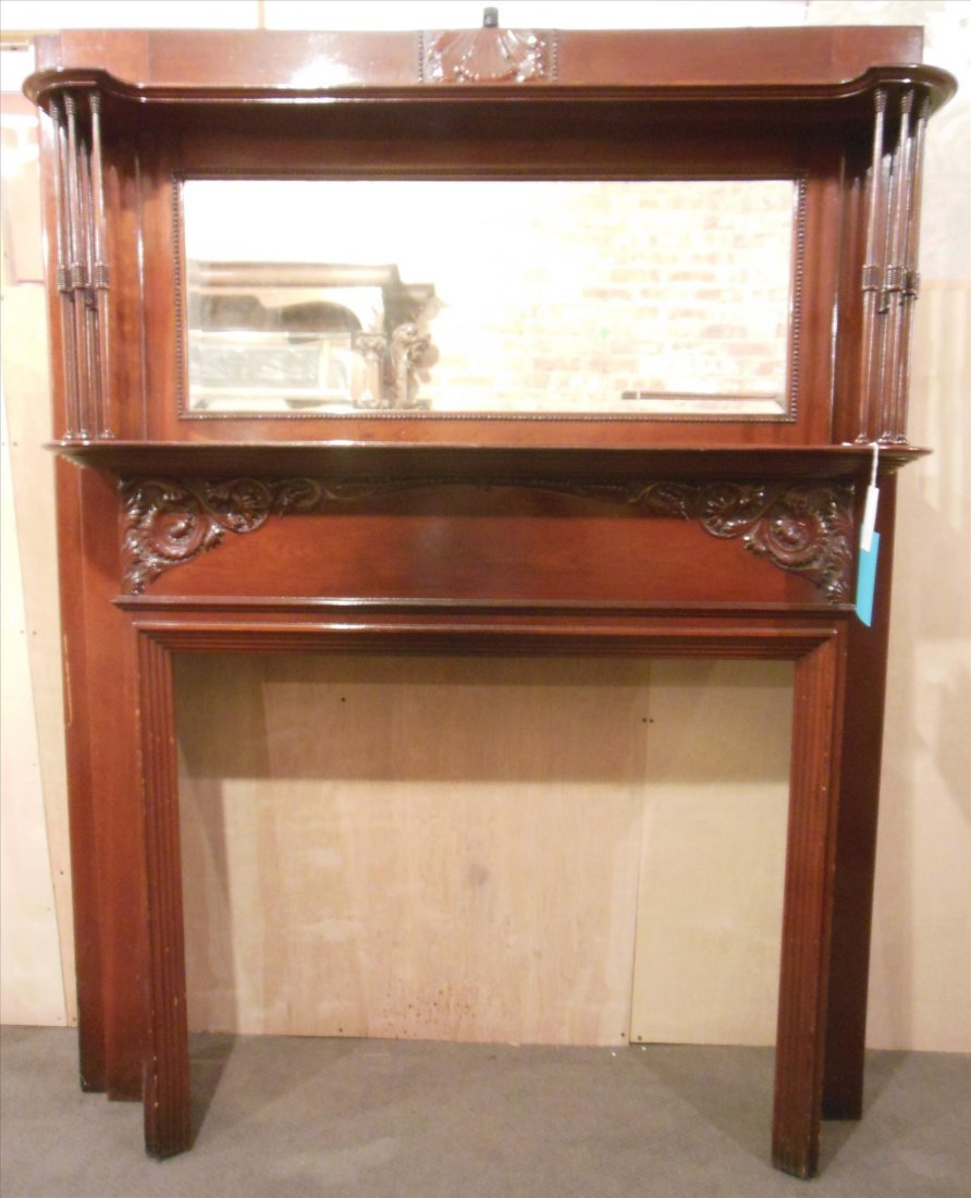 American Victorian full mantel with carvings, spindles