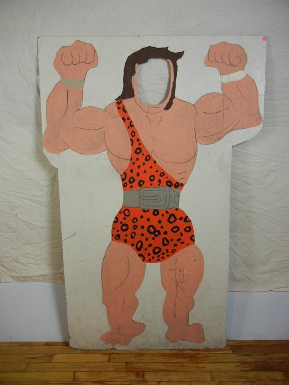 American Muscle Man Photo Prop, Painted on Wood