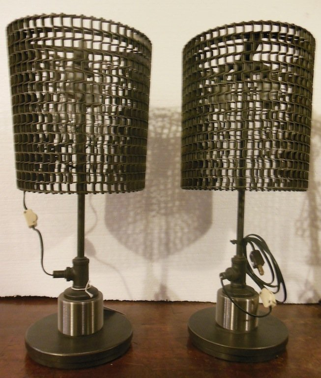 Pair of American Industrial Lamps, Made from Recycled G