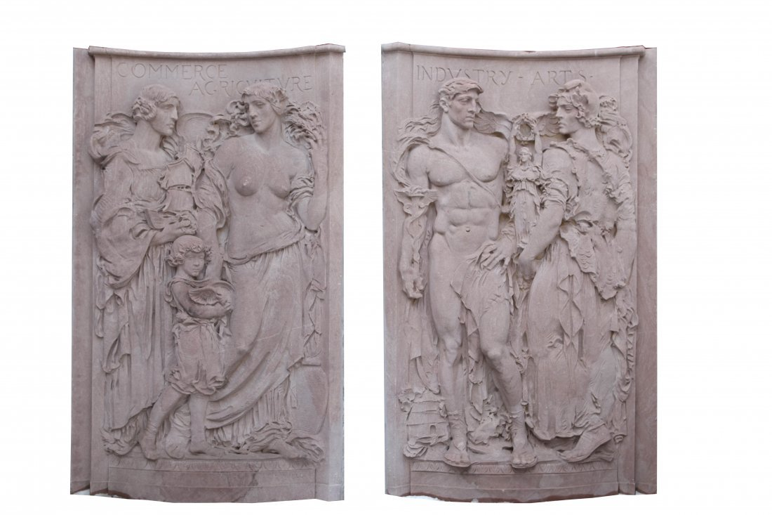 Leo Lentelli (1879-1961) carved in bas relief pink Tenn