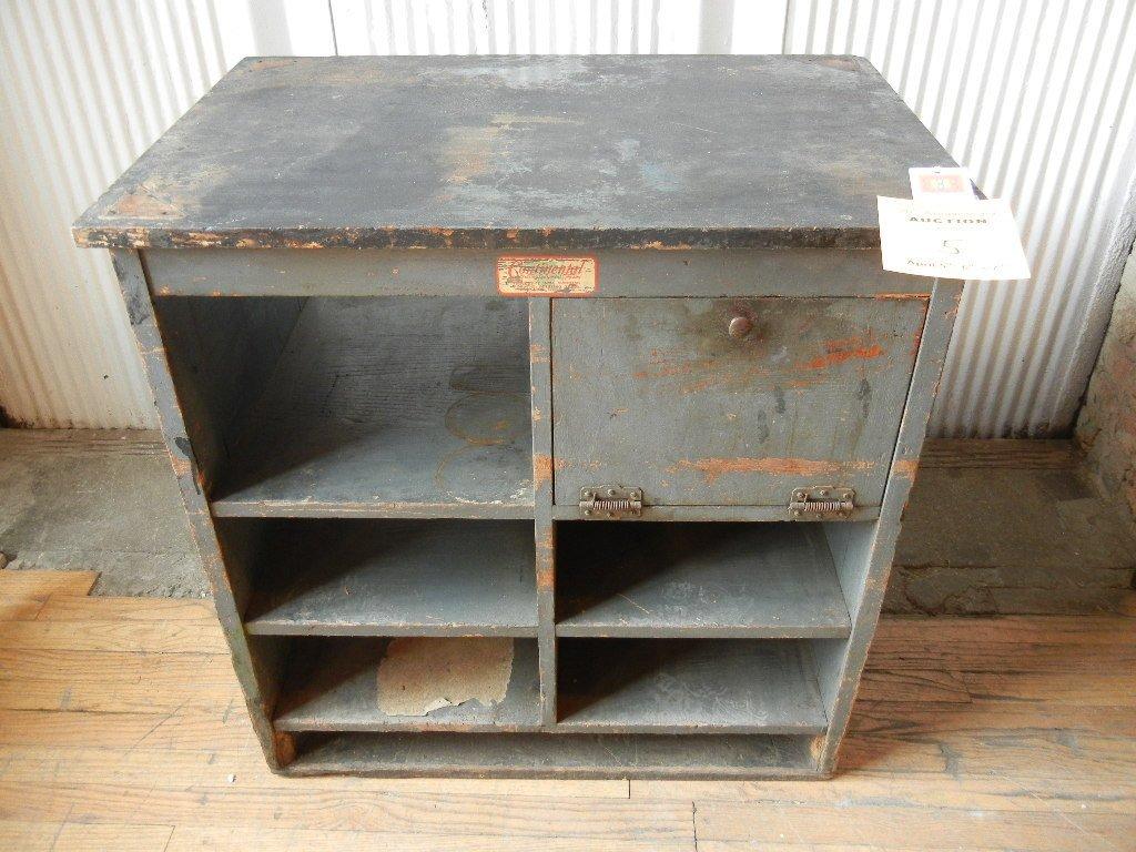 American oak printing cabinet, Original Tag