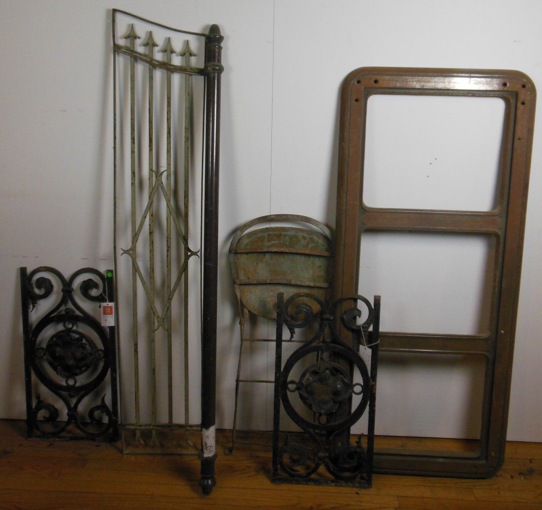 Lot of Various Pieces of Iron-chair, matched pair of de