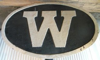 "Cast Iron Railroad ""W"" Whistle Sign"