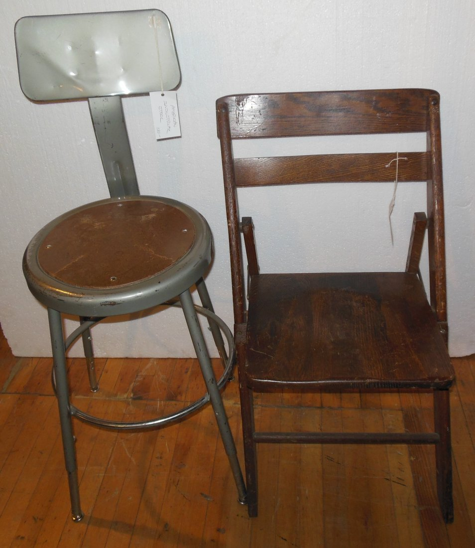 American industrial stool and American wood fold up cha