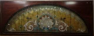 American Victorian stained leaded glass window with jew