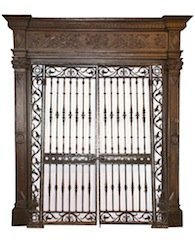 American heavily carved frame with iron gates