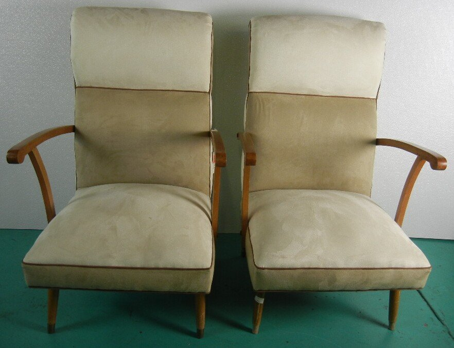 Pair of Italian Mid Century Chairs, White and Tan 2 Ton