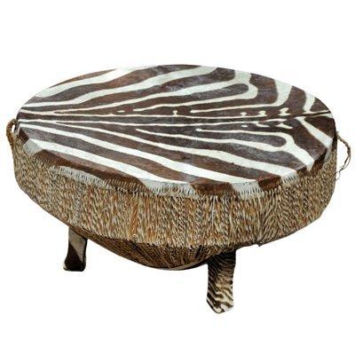 African Drum Table W/ Zebra Hide Top