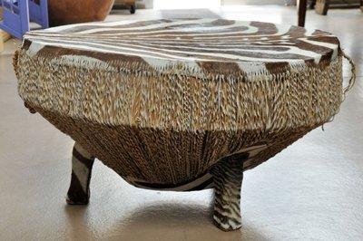 African Drum Table w/ Zebra Hide Top - 2
