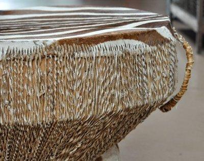 African Drum Table w/ Zebra Hide Top - 4