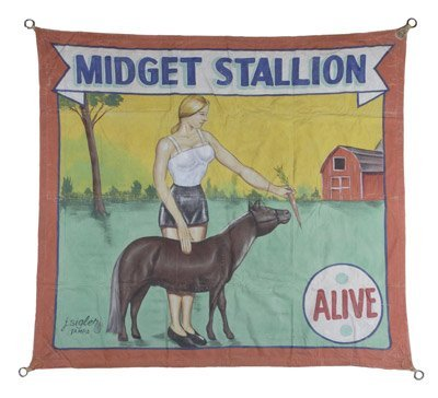 "American circus banner ""Midget Stallion"""