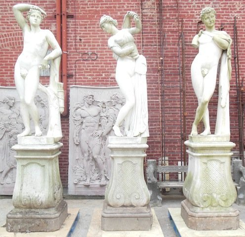 Outstanding set of 3 marble garden statues with bases,