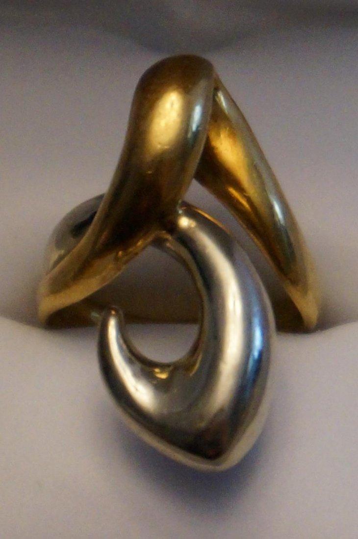 14K Yellow & White Gold Ring  Size 8  9.2 Grams