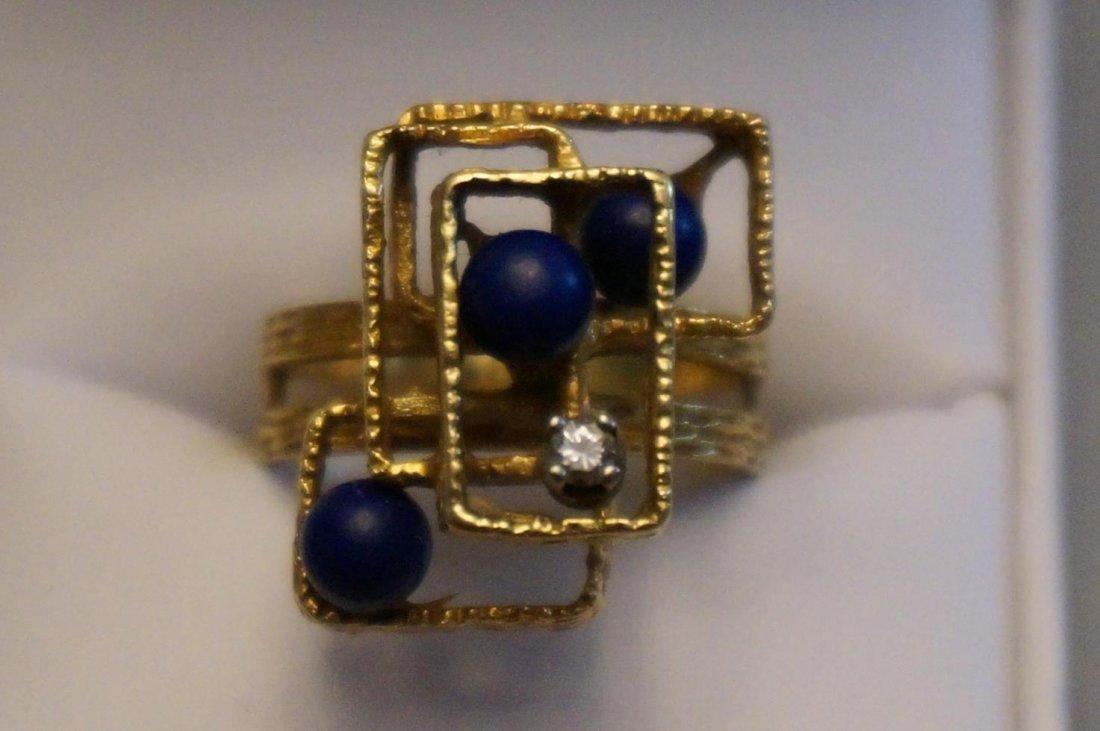18K Yellow Gold Diamond & Lapis Abstract Ring  Size 8