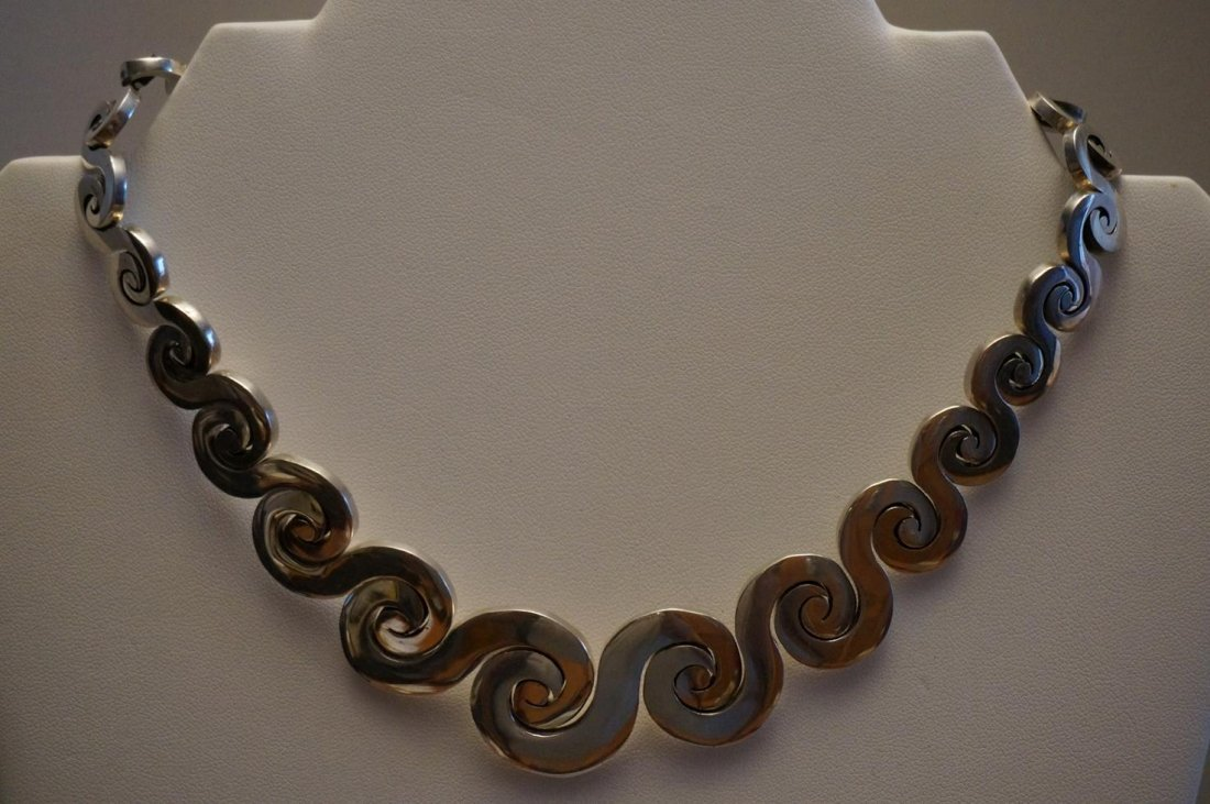 Sterling Silver Heavy Swirl Necklace Marked .925 Mexico