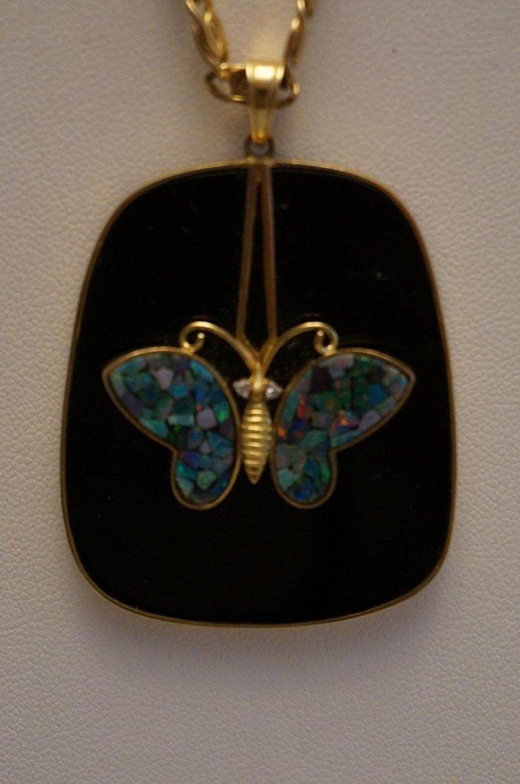 "14K Yellow Gold Onyx & Opal Butterfly Pendant & 20"""