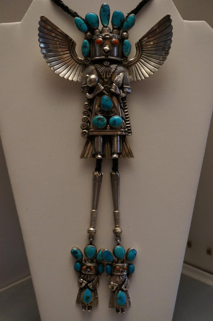 Vintage Sterling Silver Turquoise & Coral Eagle Dancer