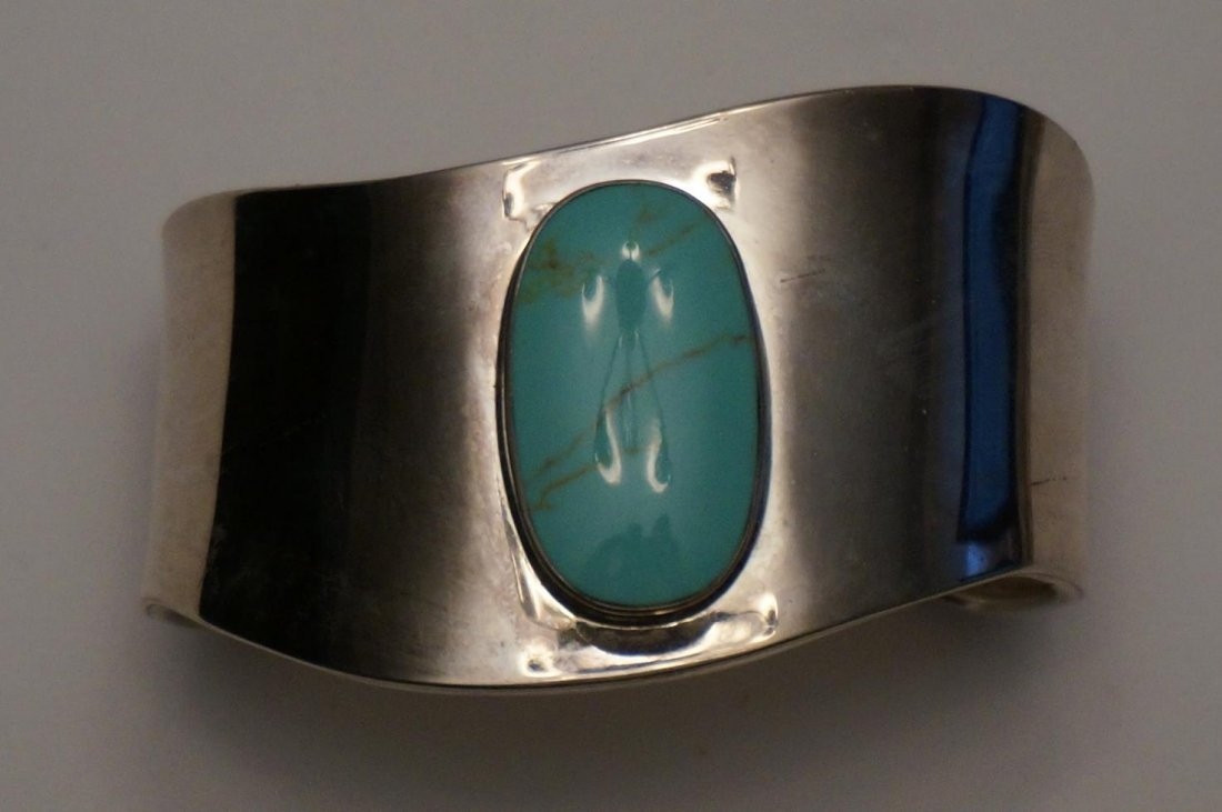 Sterling Silver Silver & Turquoise Cuff Bracelet Marked