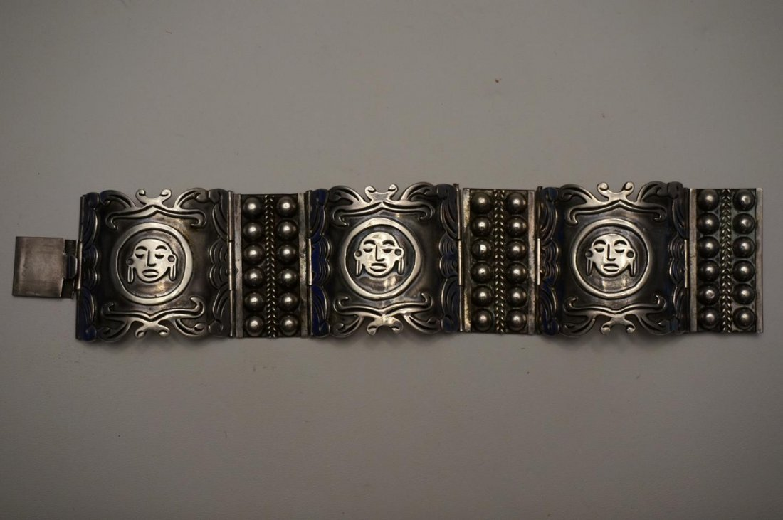 Sterling Silver Hinged Bracelet Marked ASM Mexico .925