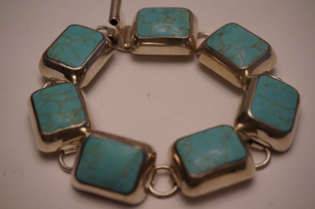 Sterling Silver & Turquoise Bracelet Marked Mexico .925