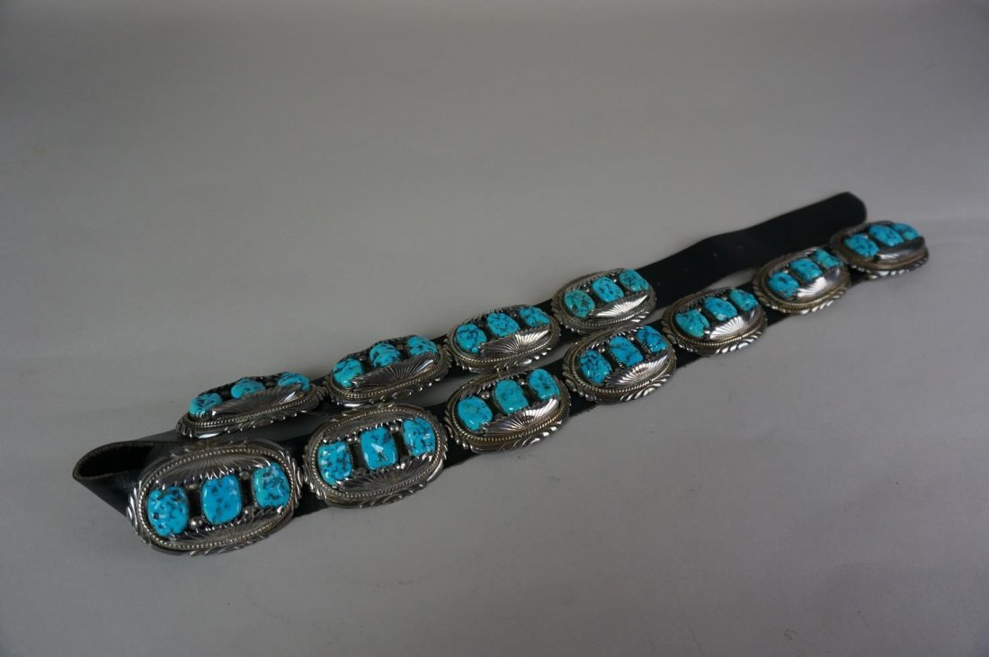 Zuni Pueblo Eleven Sterling Silver & Turquoise Buckles