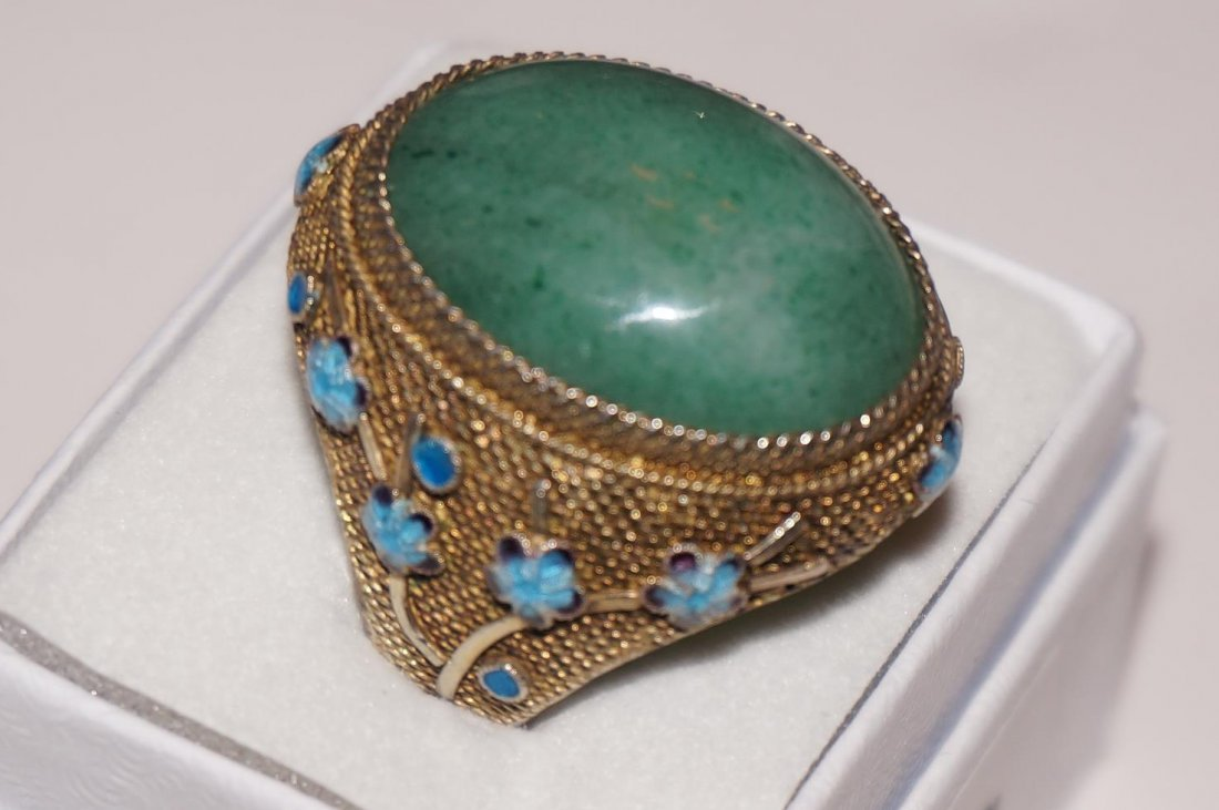 Sterling Silver & Jade Chinese Cloisonne Ring  Size