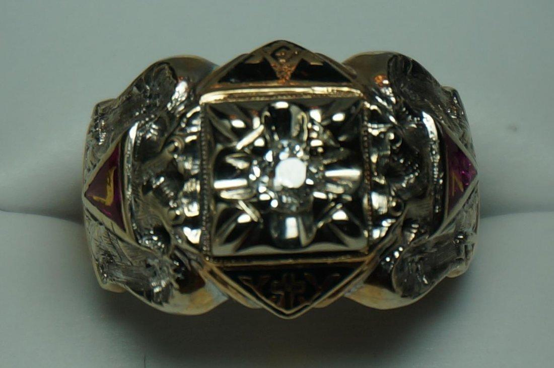 Vintage Gothic 10K Yellow & White Gold Diamond Masons