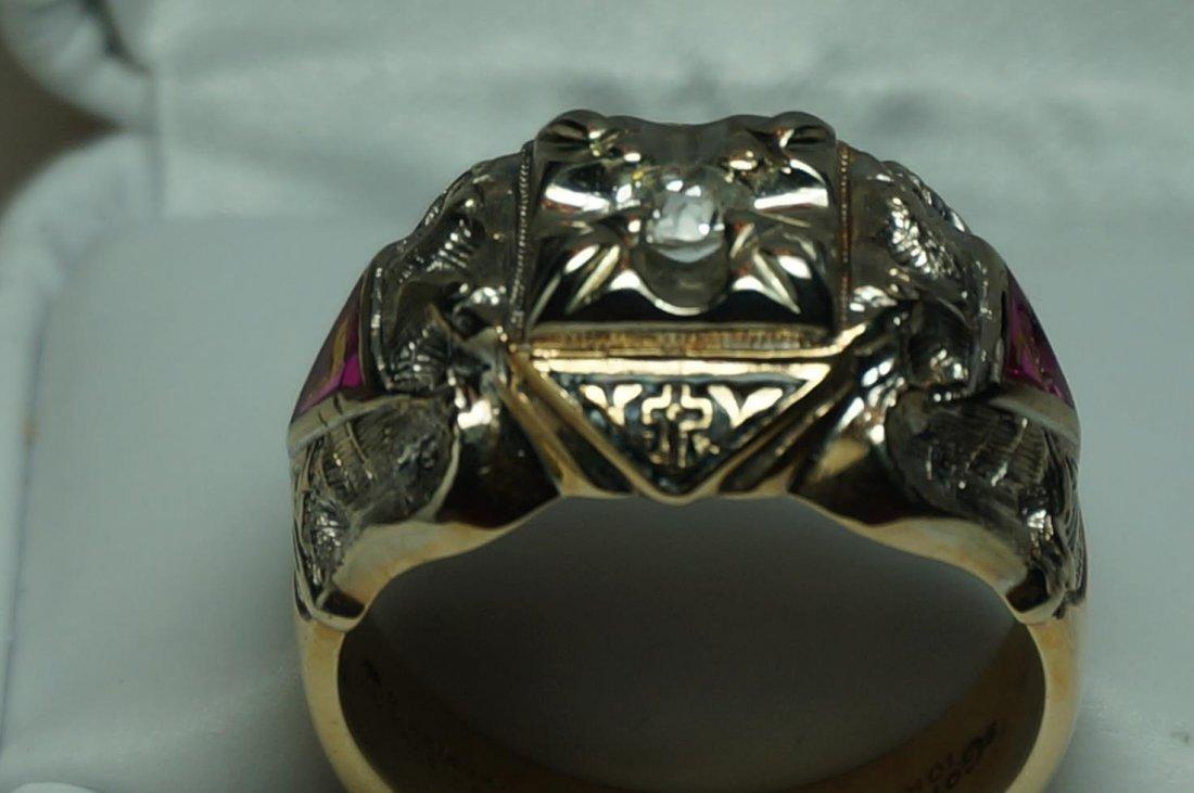 Vintage Gothic 10K Yellow & White Gold Diamond Masons - 2