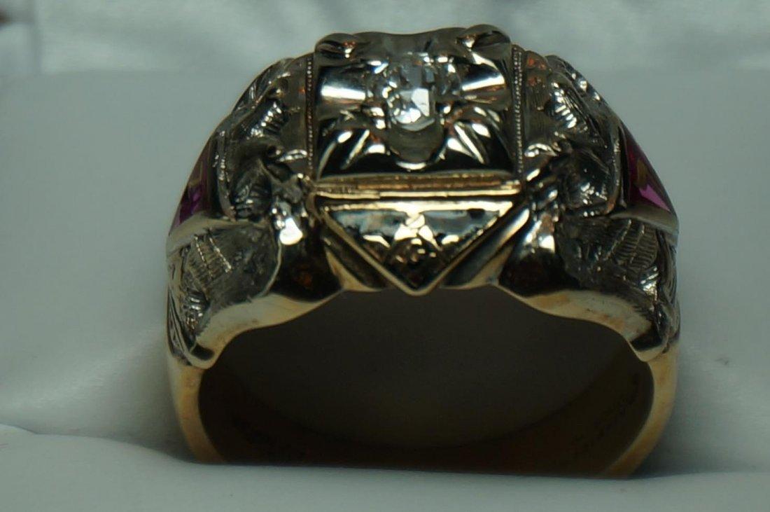 Vintage Gothic 10K Yellow & White Gold Diamond Masons - 3