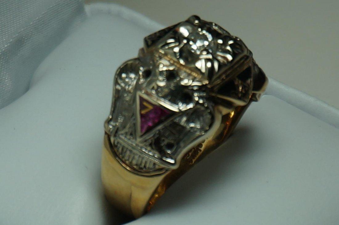 Vintage Gothic 10K Yellow & White Gold Diamond Masons - 4