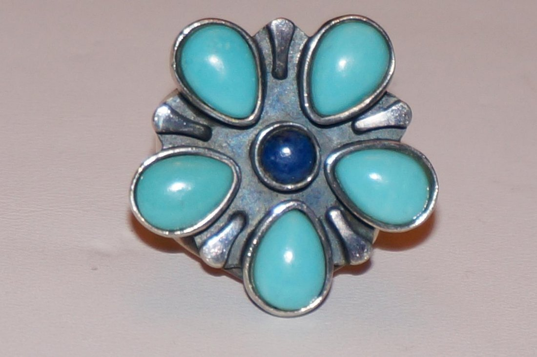 Sterling Silver Turquoise & Lapis Ring Marked DTR China