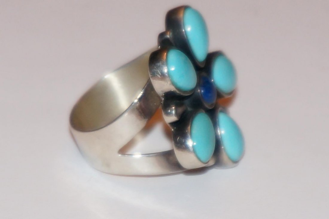 Sterling Silver Turquoise & Lapis Ring Marked DTR China - 2