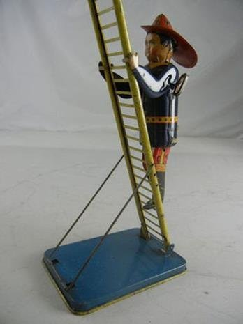 Vintage Marx Tin Litho Wind Up Climbing Fireman