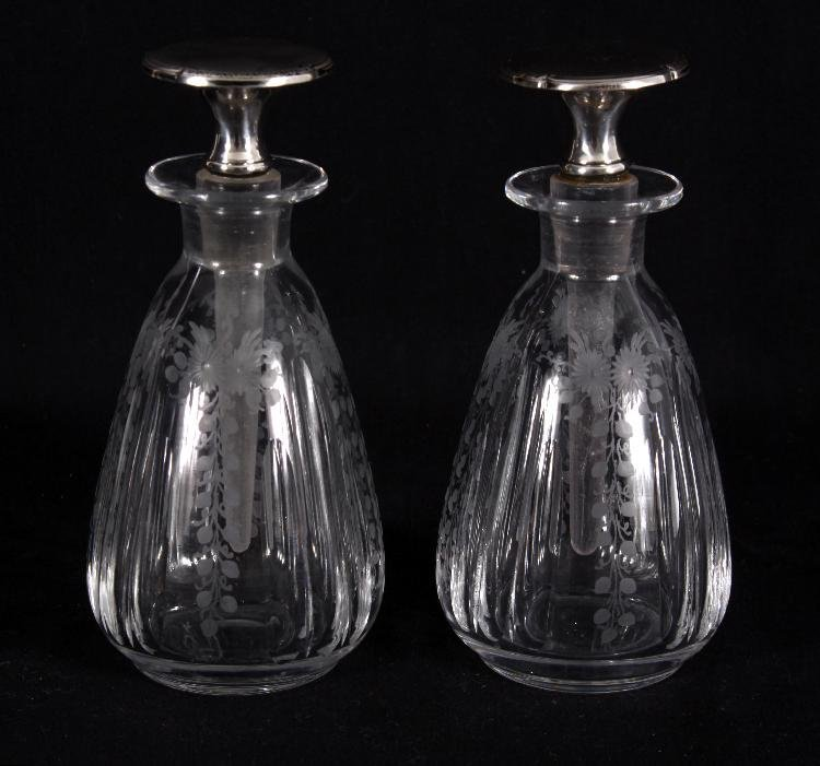 Pair of Etched Glass Sterling Top Perfumes
