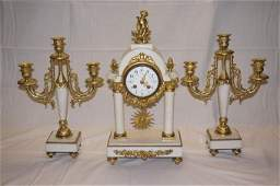 Three Piece L Marti French Brass  White Marble