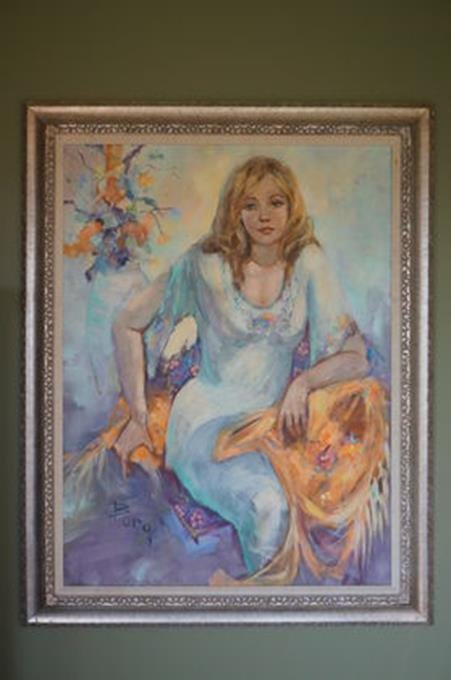 """Irene Borg Oil On Canvas Painting Of A Women 29-1/2"""" x"""