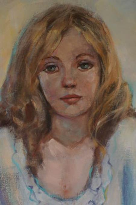 """Irene Borg Oil On Canvas Painting Of A Women 29-1/2"""" x - 2"""