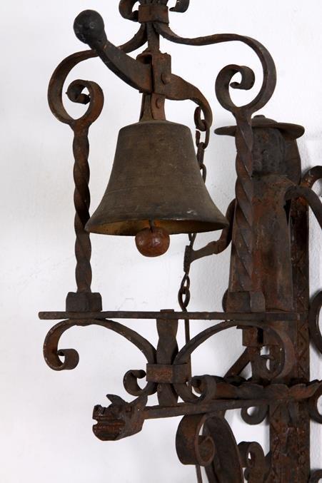 Hand Forged Iron Folk Art Doorbell Bell Pull