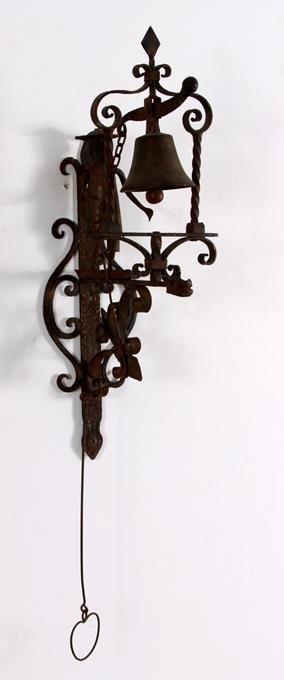 Hand Forged Iron Folk Art Doorbell Bell Pull - 2