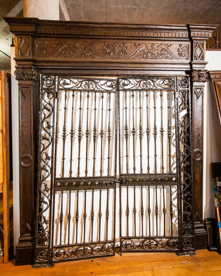 Heavily Carved Wood Frame & Iron Gates
