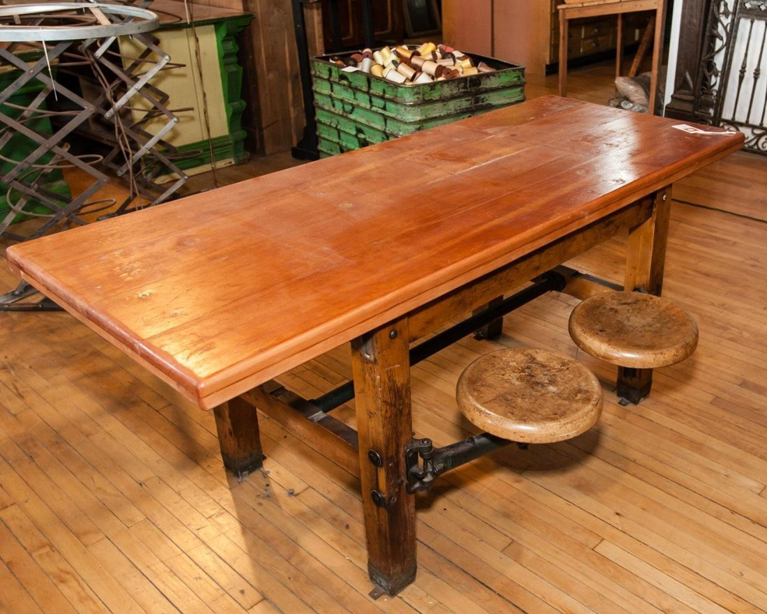 American Wood Four Stool Table