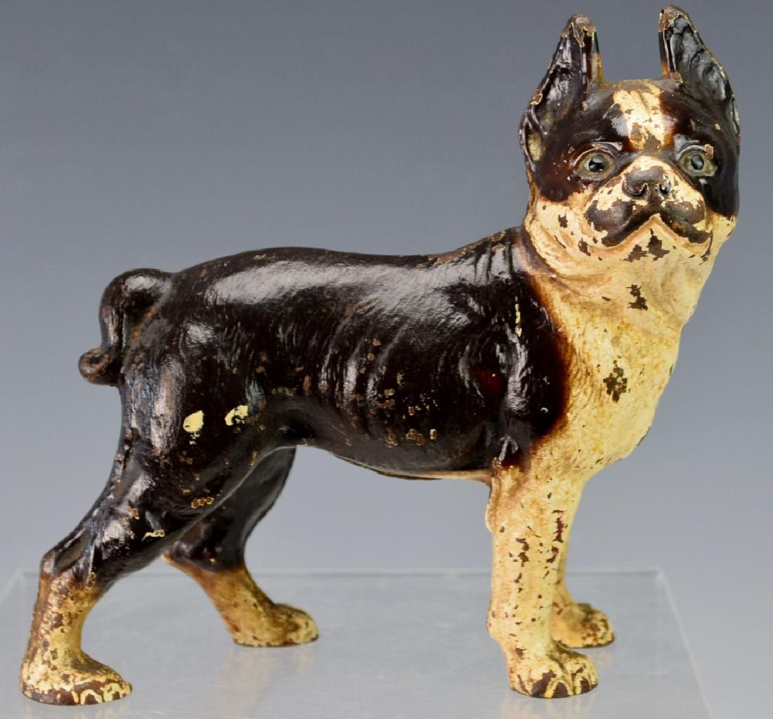 Cast Iron Painted Boston Terrier Bull Pup