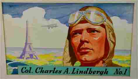 Heinz Famous Aviator Original Artwork #1 Lindbergh