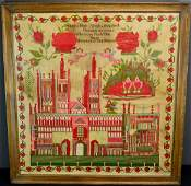 Large Mary Holt Architectural Sampler - 1856