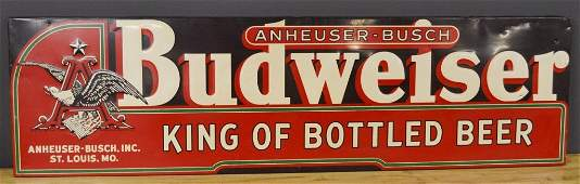 Early Anheuser-Busch Budweiser Embossed Tin Sign