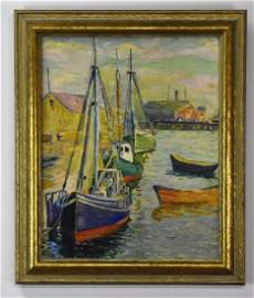 Harbour Scene Painting Attributed to Coppedge