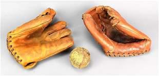 Antique Baseball Glove Grouping