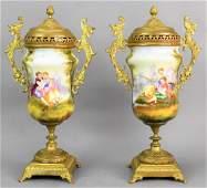 Antique French Porcelain & Bronze Garnitures