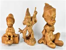 Wooden Disney Carved Statue Figurine Grouping