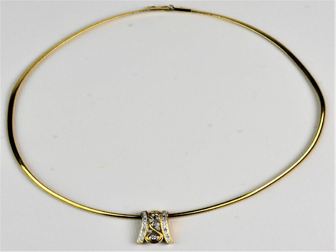 10 kt.Yellow Gold and Diamond Necklace